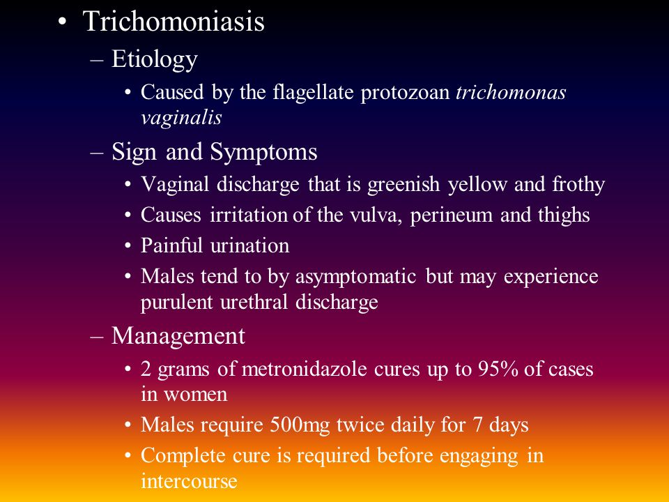 Trichomoniasis Etiology Sign and Symptoms Management