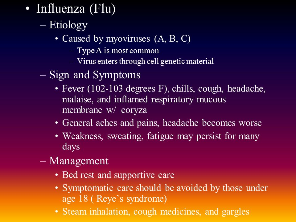 Influenza (Flu) Etiology Sign and Symptoms Management