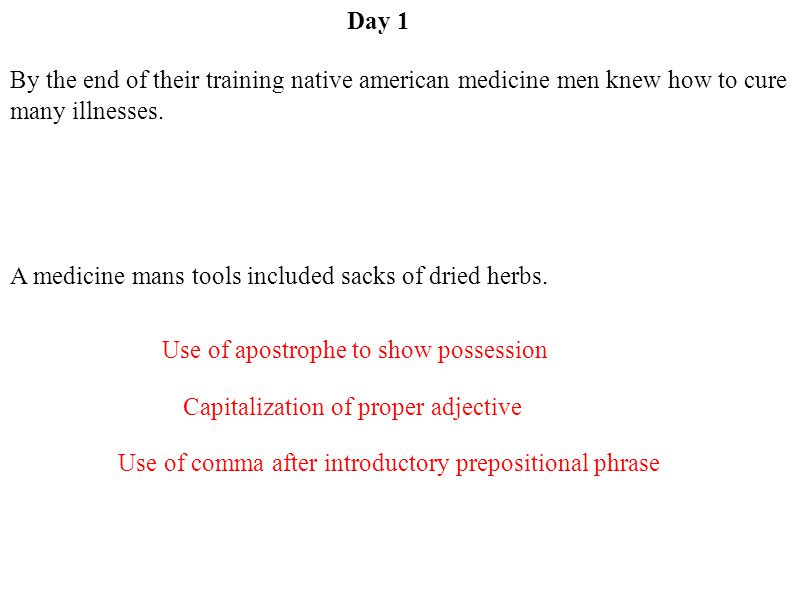 Day 1 By the end of their training native american medicine men knew how to cure many illnesses.