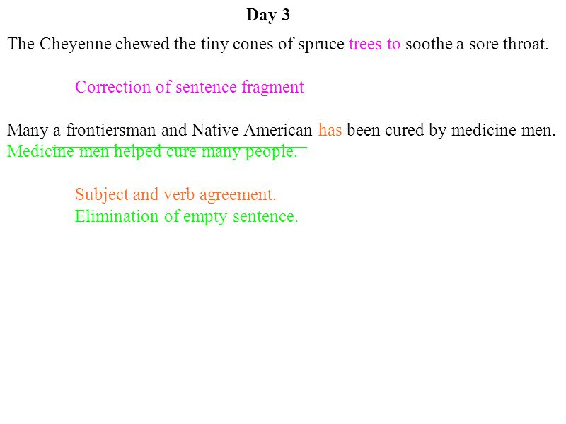 Correction of sentence fragment