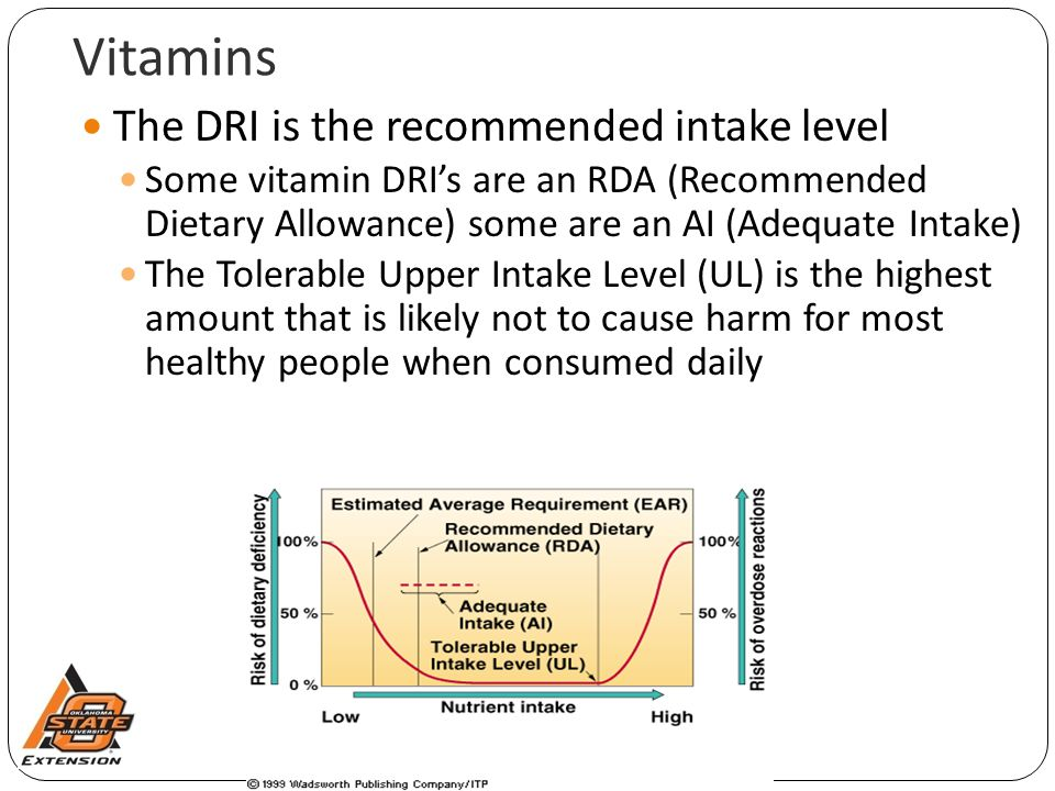 Vitamins The DRI is the recommended intake level