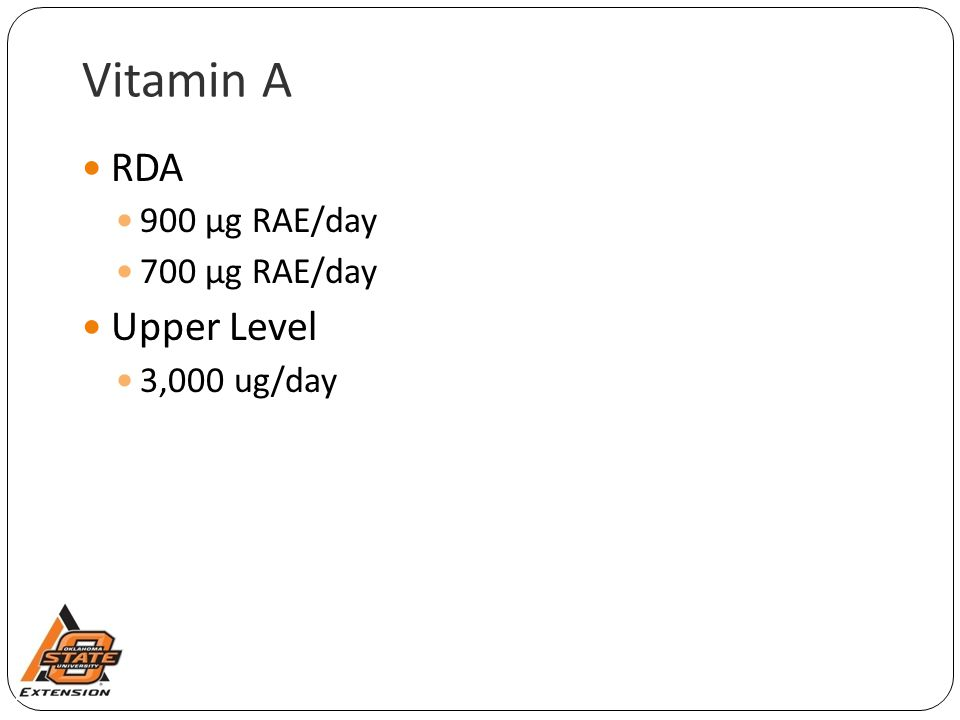 Vitamin A RDA Upper Level 900 µg RAE/day 700 µg RAE/day 3,000 ug/day