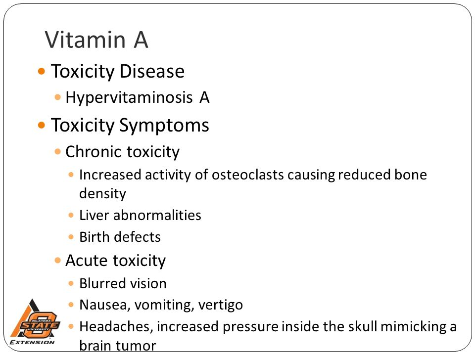 Vitamin A Toxicity Disease Toxicity Symptoms Hypervitaminosis A