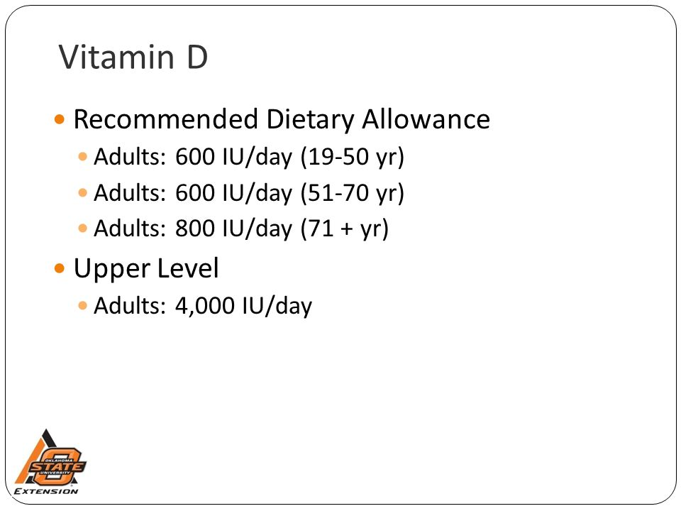 Vitamin D Recommended Dietary Allowance Upper Level