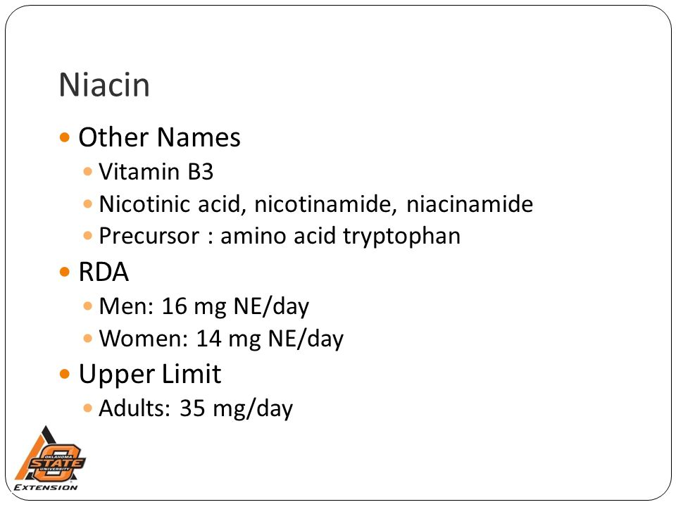 Niacin Other Names RDA Upper Limit Vitamin B3