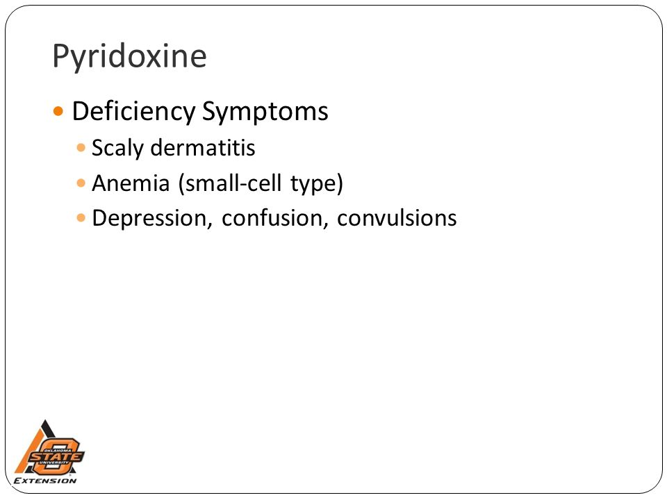 Pyridoxine Deficiency Symptoms Scaly dermatitis