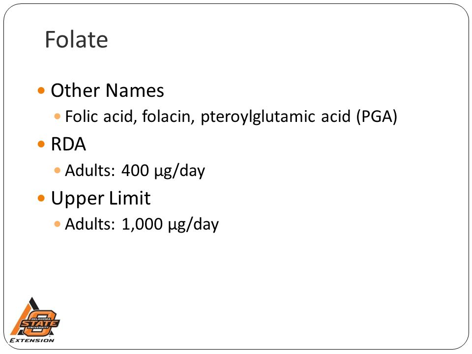 Folate Other Names RDA Upper Limit