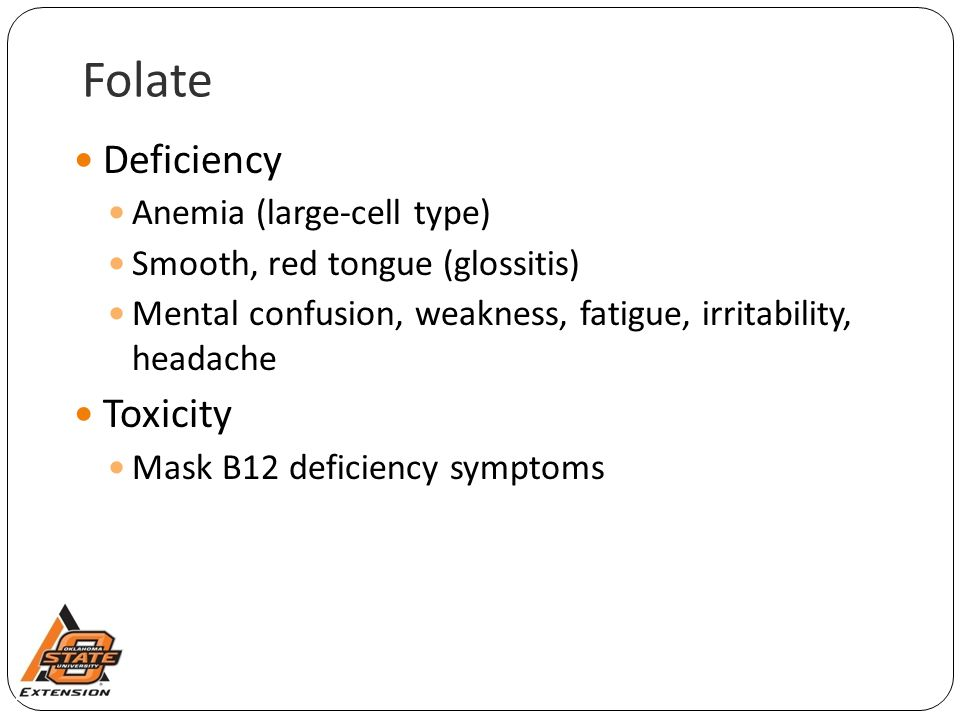 Folate Deficiency Toxicity Anemia (large-cell type)