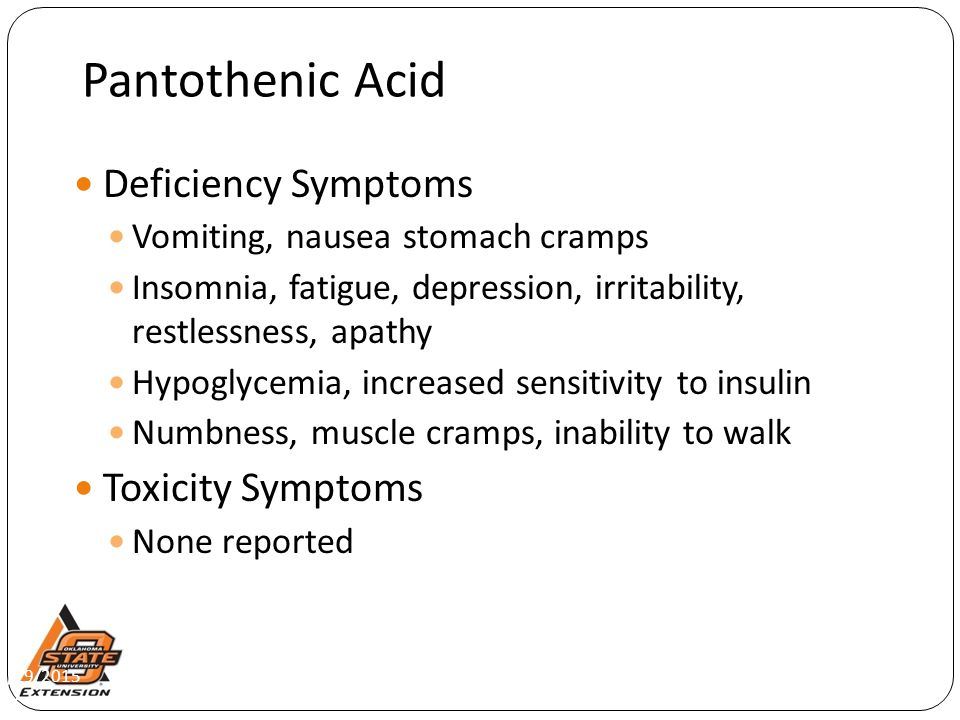 Pantothenic Acid Deficiency Symptoms Toxicity Symptoms