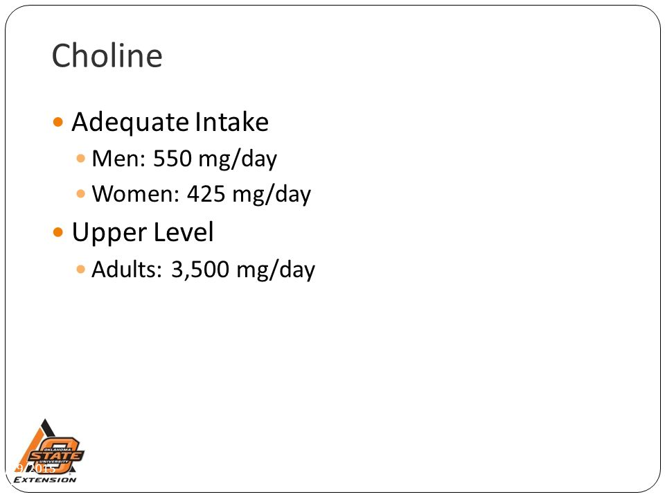 Choline Adequate Intake Upper Level Men: 550 mg/day Women: 425 mg/day