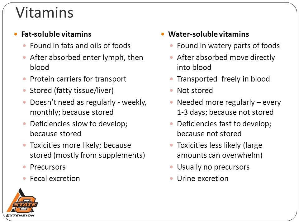 Vitamins Fat-soluble vitamins Found in fats and oils of foods