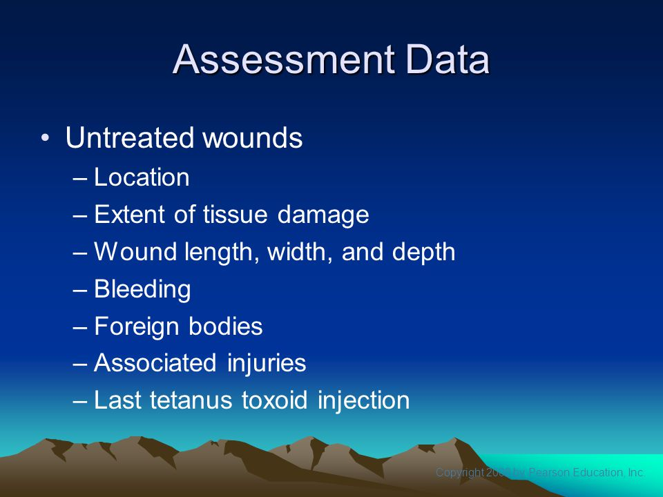 Assessment Data Untreated wounds Location Extent of tissue damage