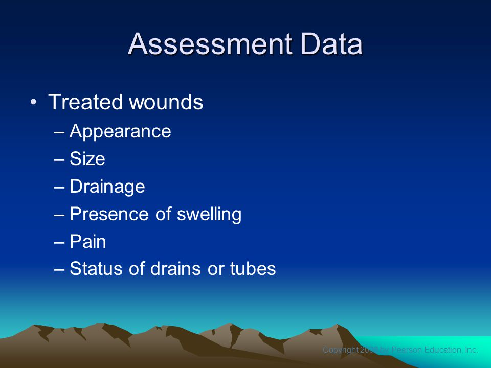 Assessment Data Treated wounds Appearance Size Drainage
