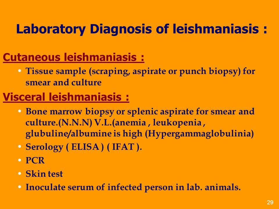 Laboratory Diagnosis of leishmaniasis :