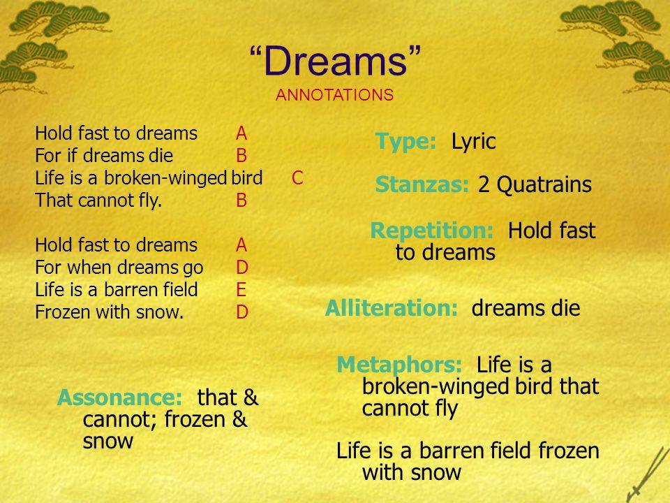 Dreams ANNOTATIONS Type: Lyric Stanzas: 2 Quatrains