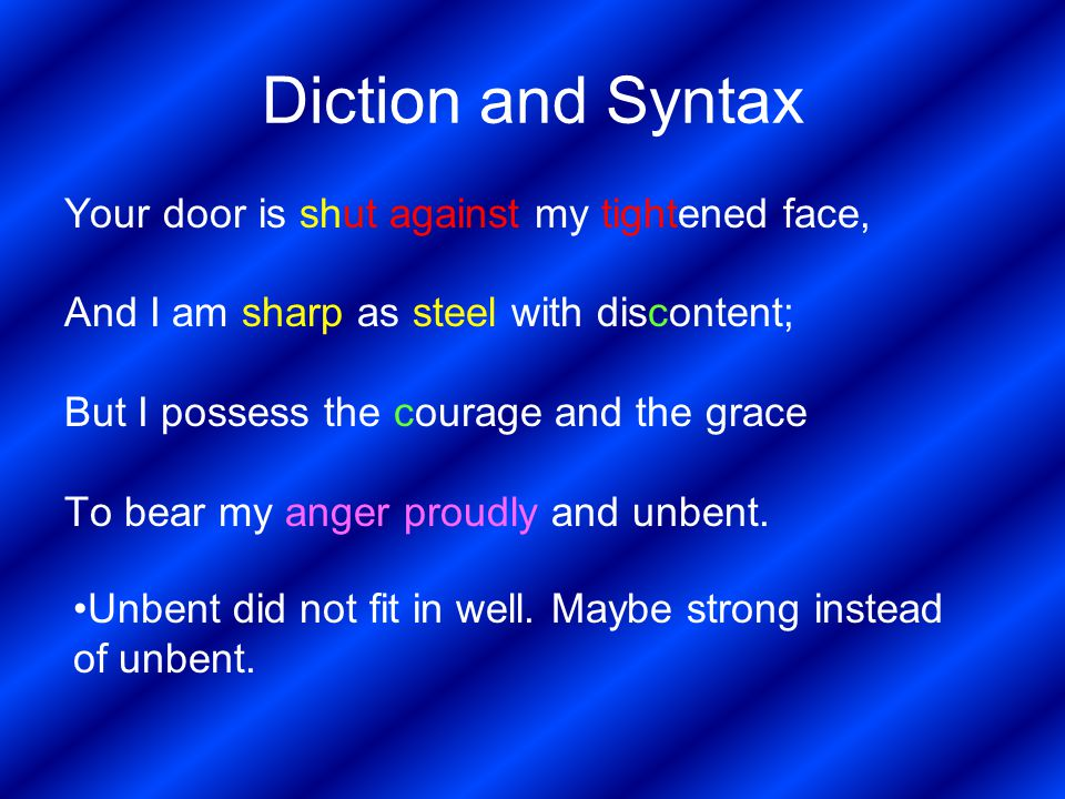Diction and Syntax Your door is shut against my tightened face,