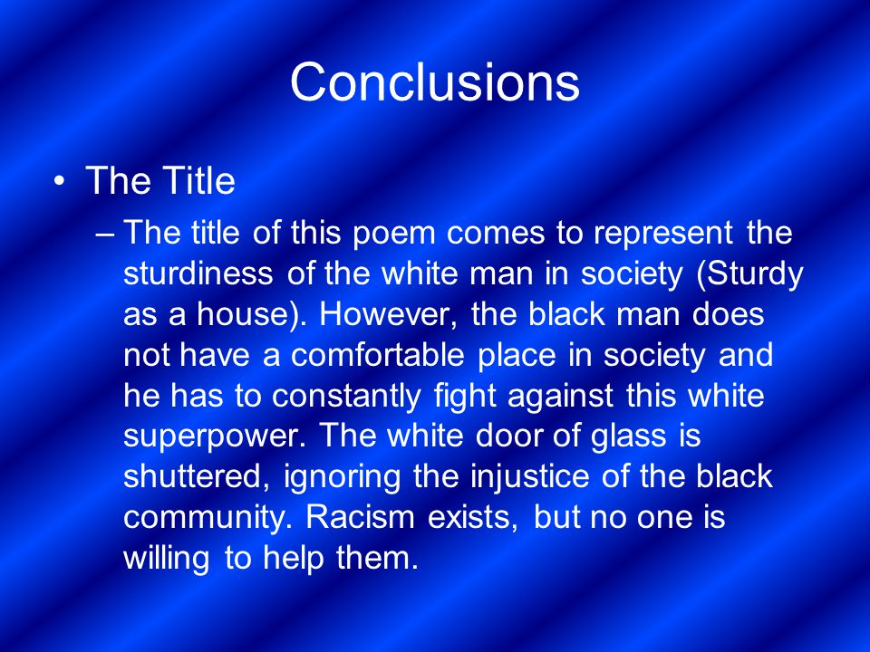 Conclusions The Title.