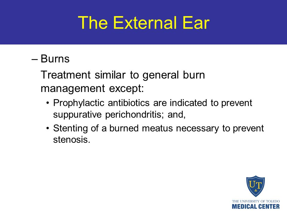 The External Ear Burns. Treatment similar to general burn management except:
