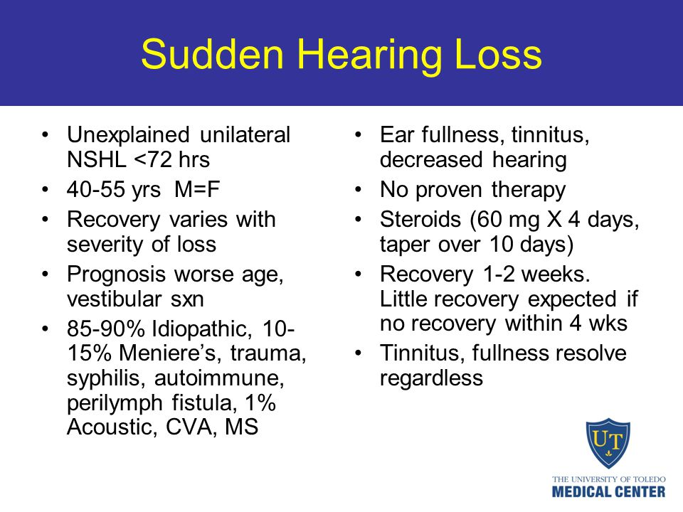 Sudden Hearing Loss Unexplained unilateral NSHL <72 hrs