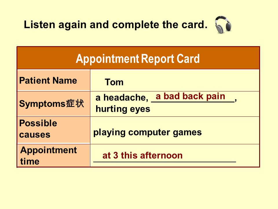Appointment Report Card