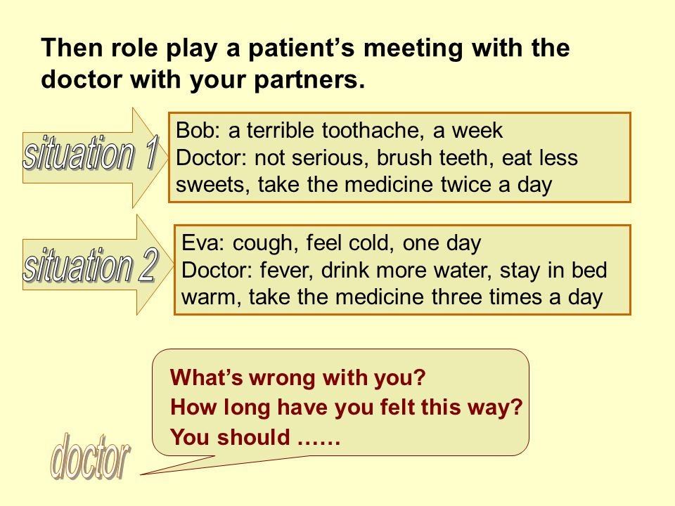 Then role play a patient's meeting with the doctor with your partners.