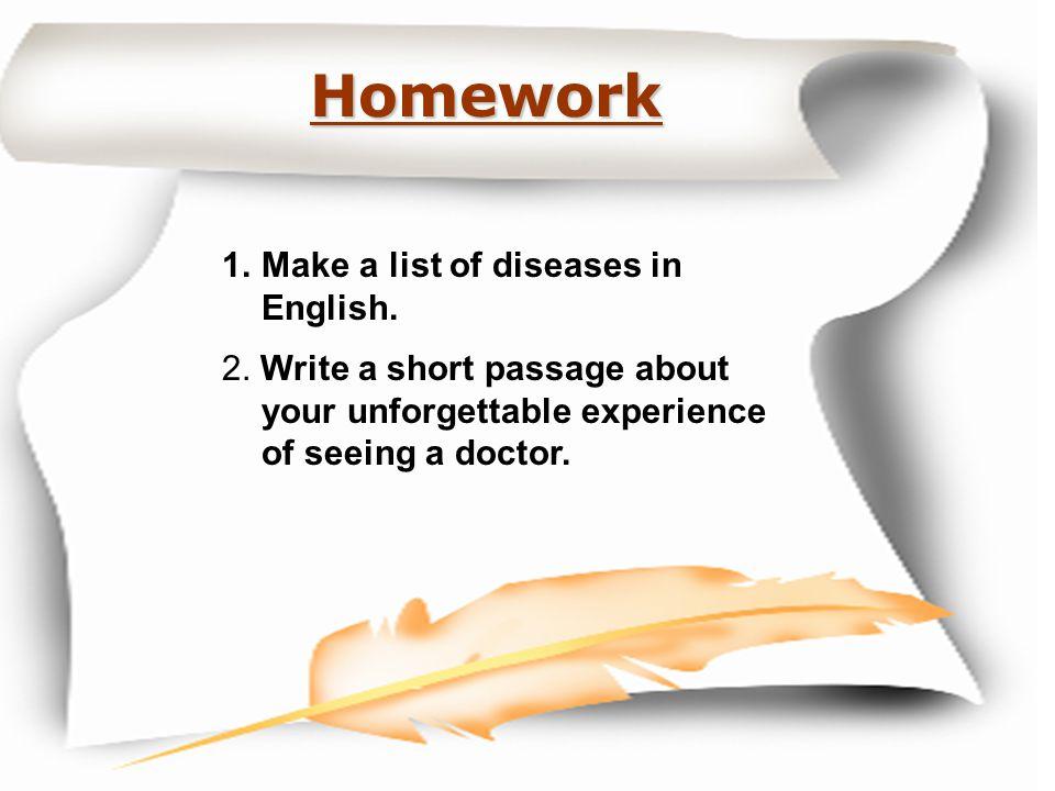 Homework Make a list of diseases in English.