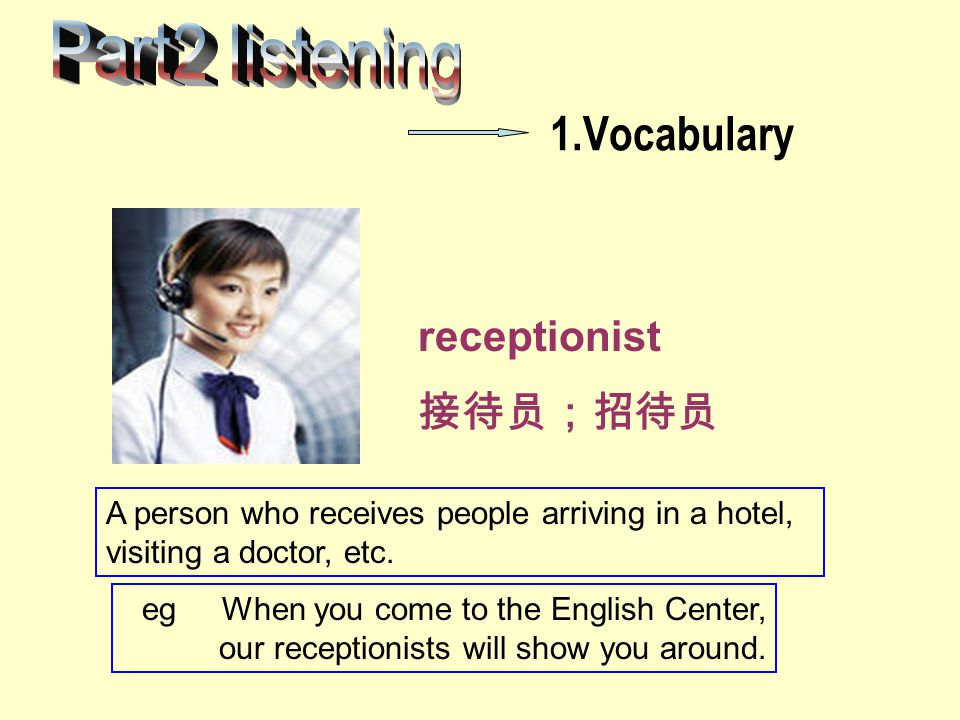 Part2 listening 1.Vocabulary receptionist 接待员;招待员