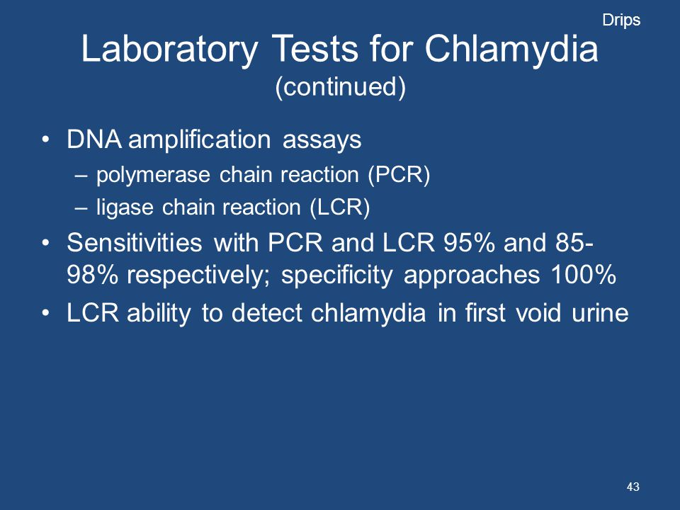 Laboratory Tests for Chlamydia (continued)