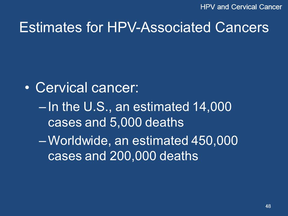 Estimates for HPV-Associated Cancers