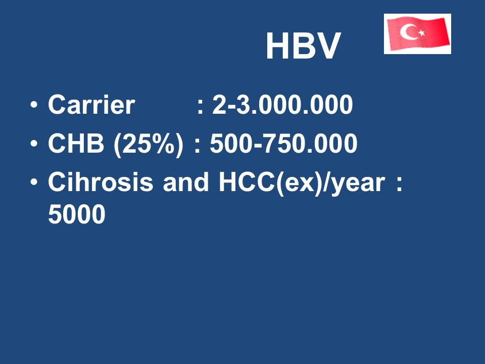 HBV Carrier : 2-3.000.000 CHB (25%) : 500-750.000