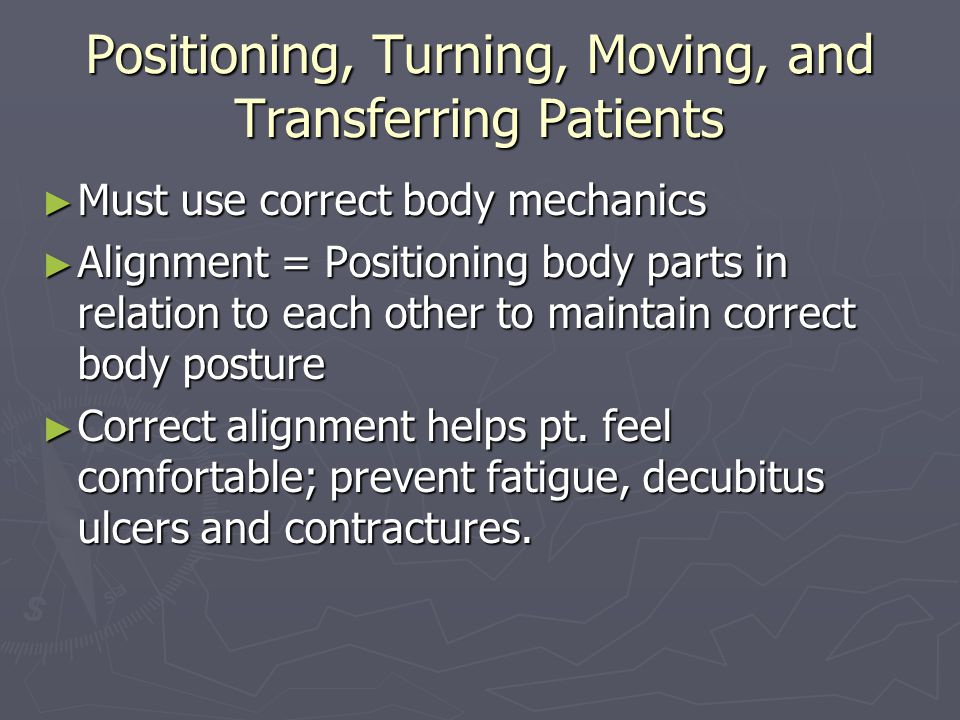 Positioning, Turning, Moving, and Transferring Patients