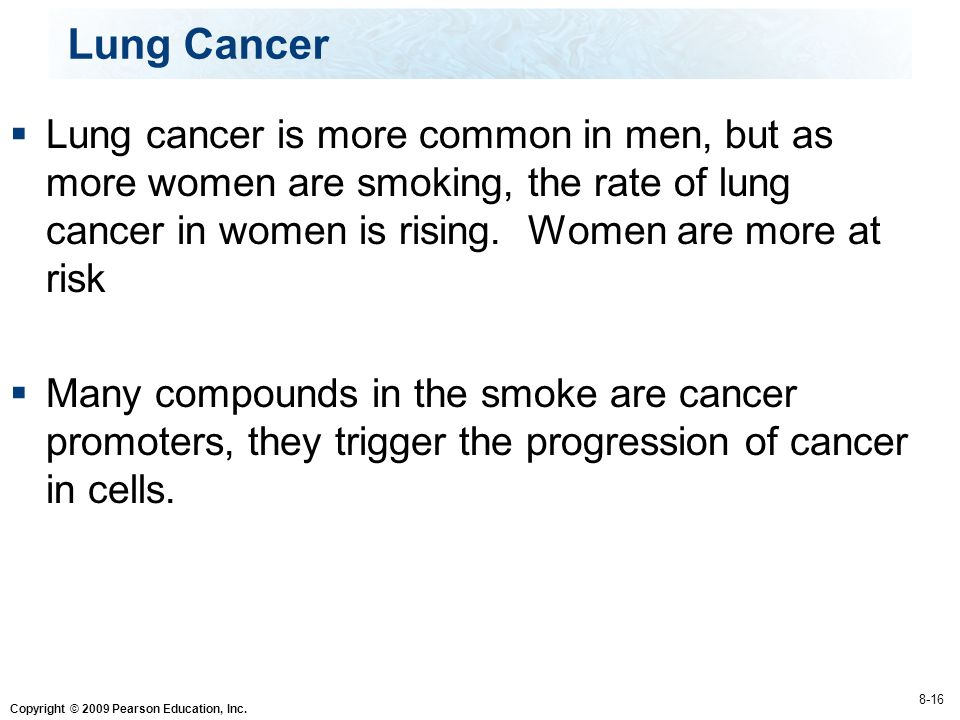 Lung Cancer Lung cancer is more common in men, but as more women are smoking, the rate of lung cancer in women is rising. Women are more at risk.