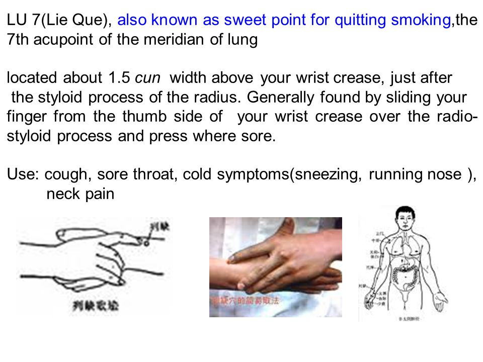LU 7(Lie Que), also known as sweet point for quitting smoking,the 7th acupoint of the meridian of lung