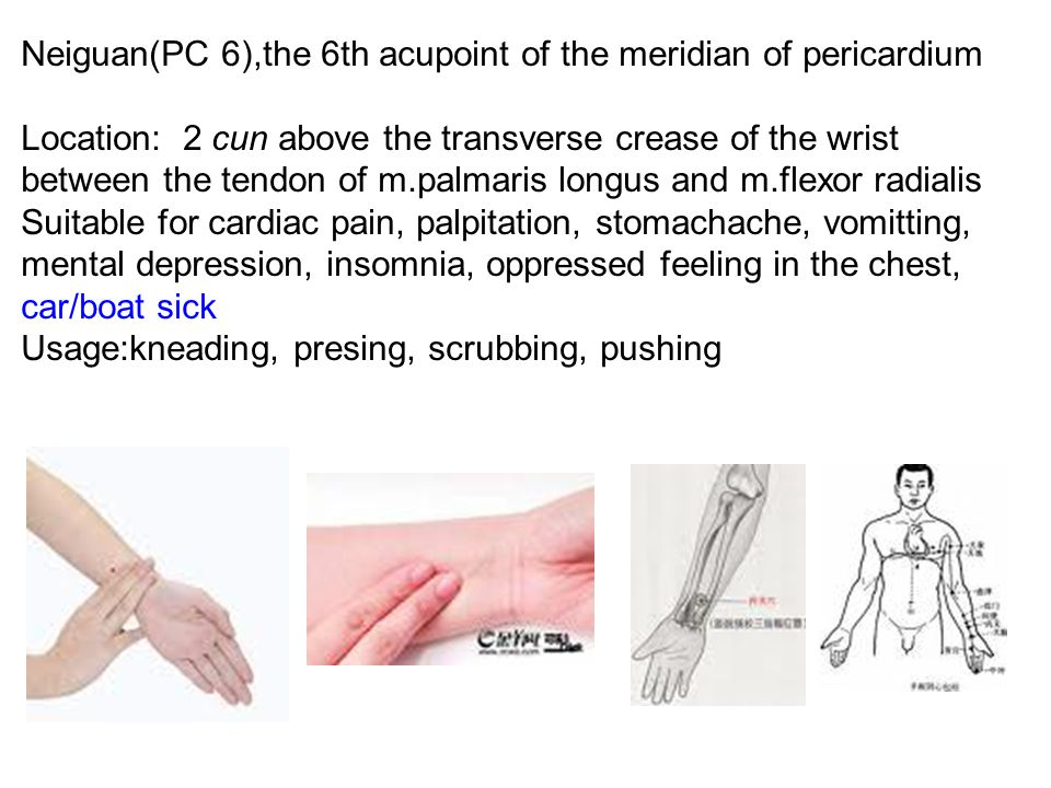 Neiguan(PC 6),the 6th acupoint of the meridian of pericardium