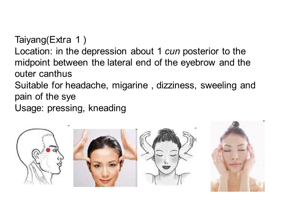 Taiyang(Extra 1 ) Location: in the depression about 1 cun posterior to the midpoint between the lateral end of the eyebrow and the outer canthus.