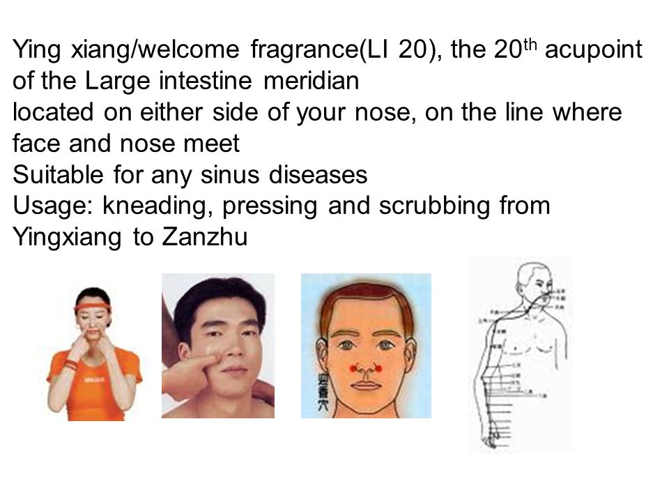Ying xiang/welcome fragrance(LI 20), the 20th acupoint of the Large intestine meridian