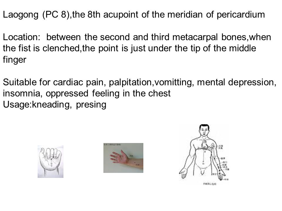 Laogong (PC 8),the 8th acupoint of the meridian of pericardium