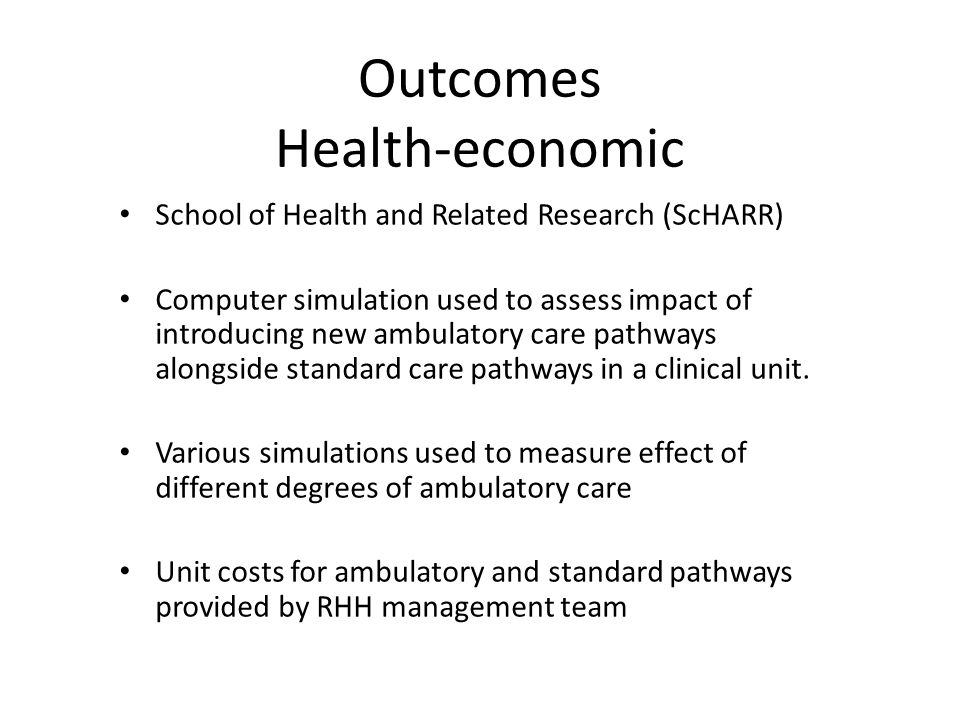 Outcomes Health-economic