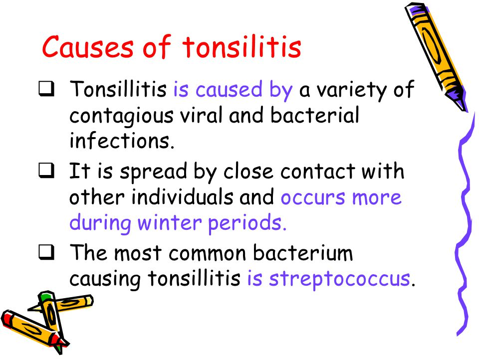 Causes of tonsilitis Tonsillitis is caused by a variety of contagious viral and bacterial infections.