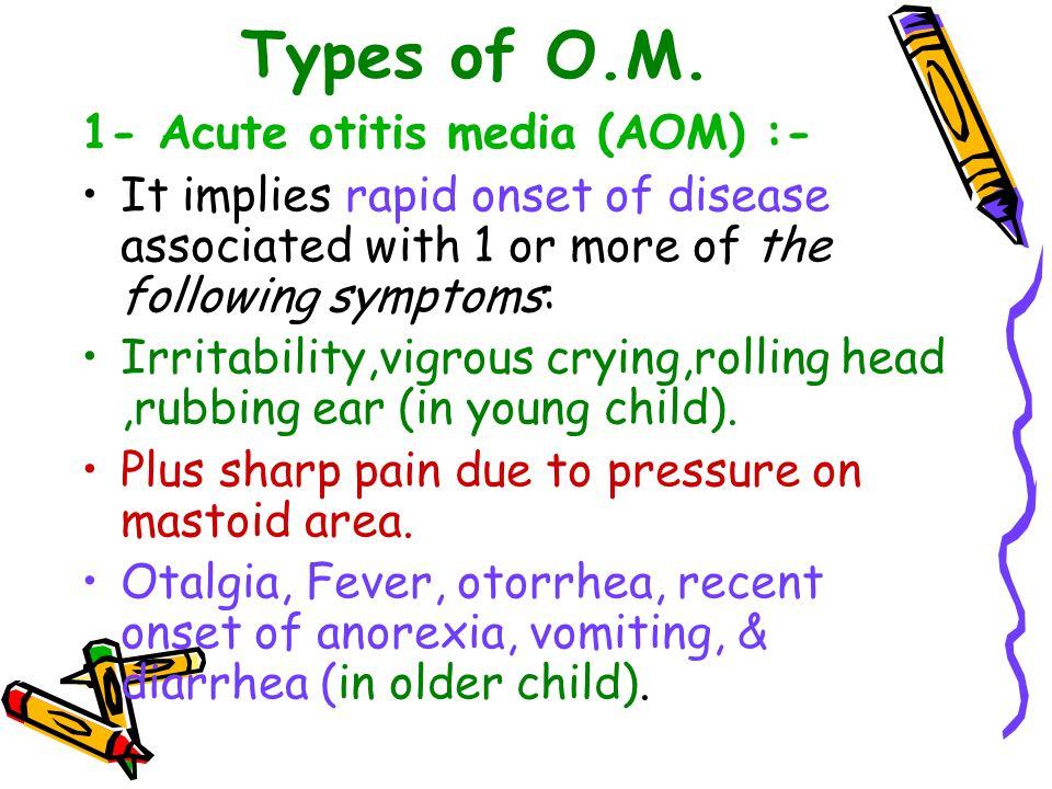 Types of O.M. 1- Acute otitis media (AOM) :-