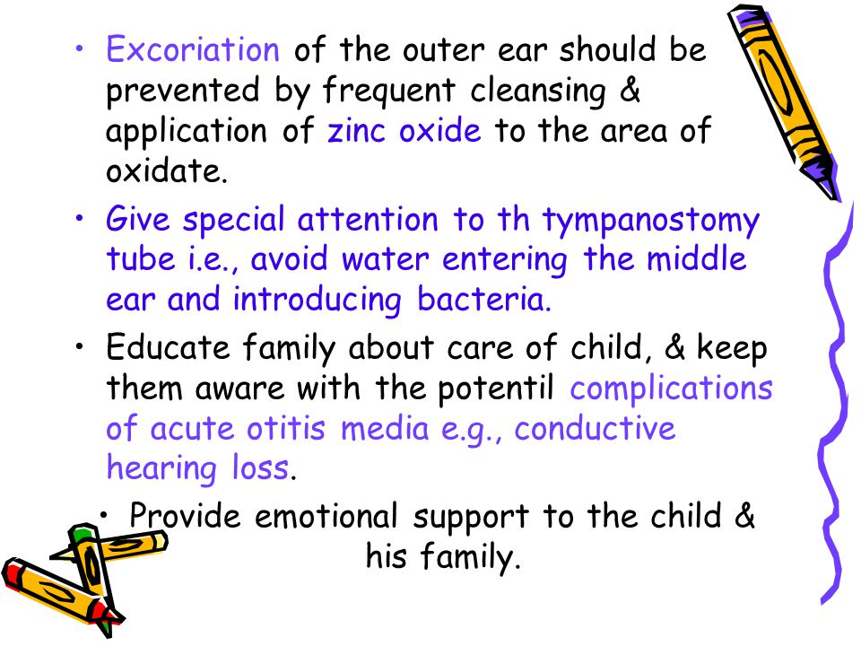 Provide emotional support to the child & his family.