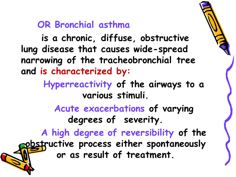 Hyperreactivity of the airways to a various stimuli.