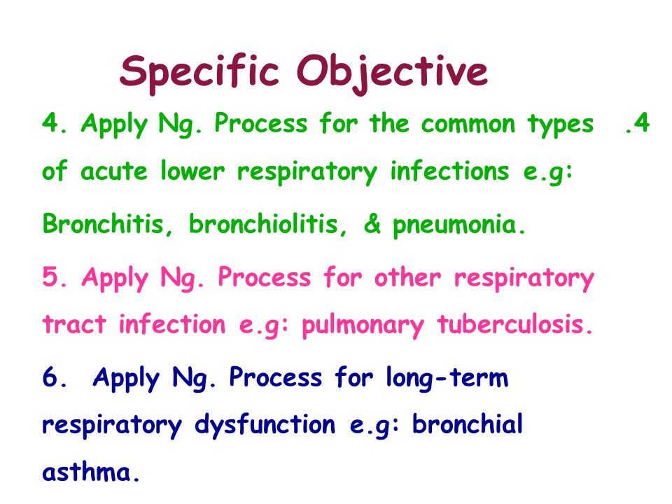 Specific Objective 4. Apply Ng. Process for the common types of acute lower respiratory infections e.g:
