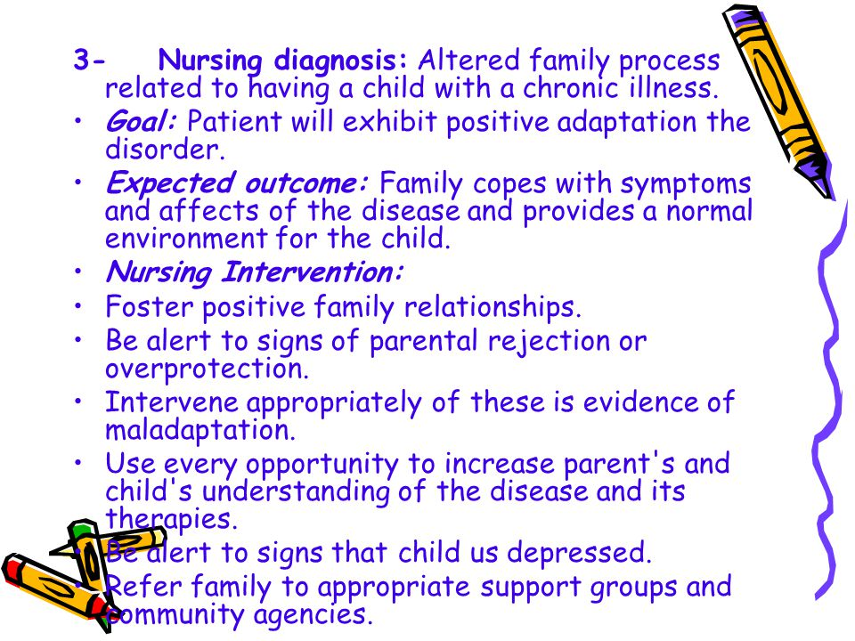 3- Nursing diagnosis: Altered family process related to having a child with a chronic illness.