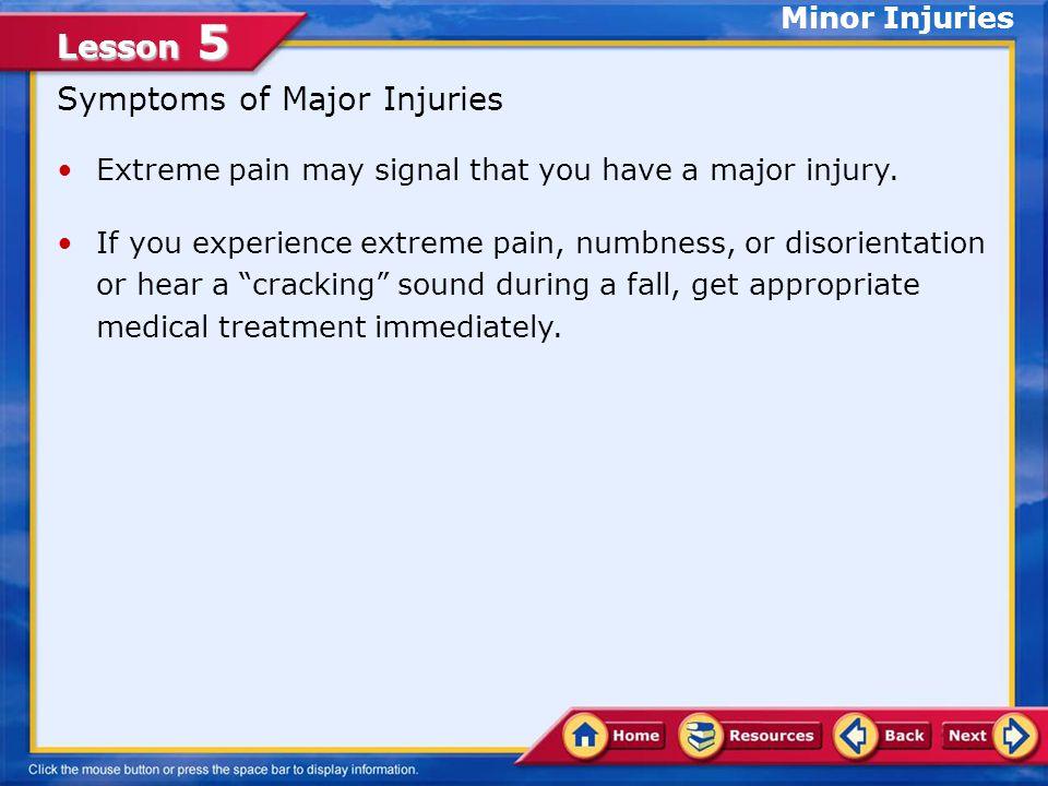 Symptoms of Major Injuries