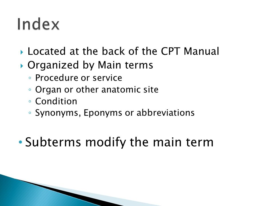 Index Subterms modify the main term