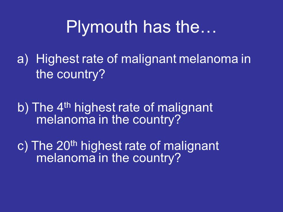 Plymouth has the… Highest rate of malignant melanoma in the country