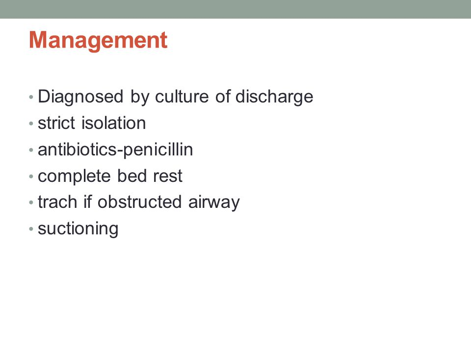 Management Diagnosed by culture of discharge strict isolation