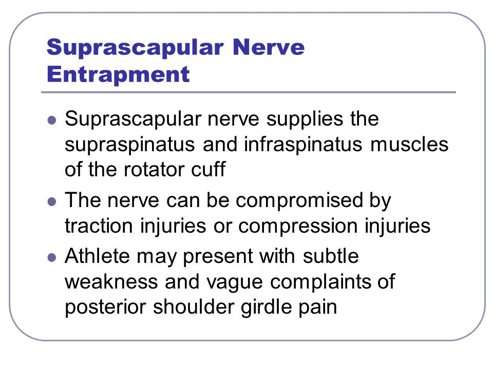 suprascapular neuropathy in overhead athletes Suprascapular neuropathy diagnosis is based on a careful history and a thorough clinical and (overhead athletes 144 the open orthopaedics journal.