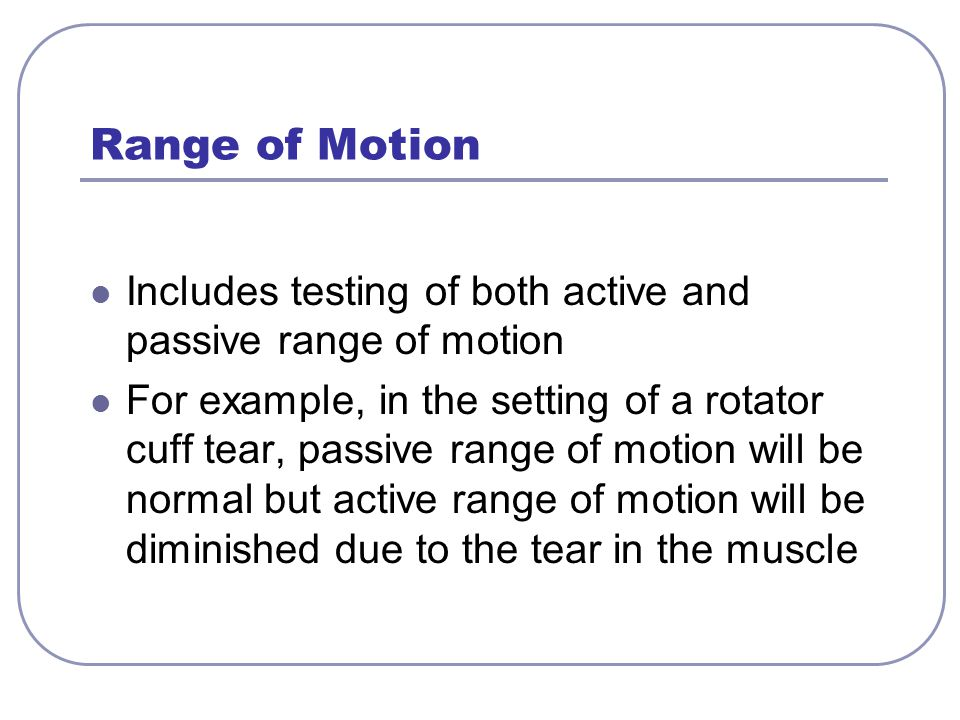 Range of Motion Includes testing of both active and passive range of motion.